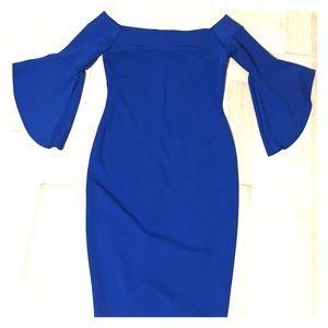 cobalt blue short, off the shoulder Bebe dress